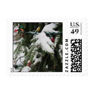 Snowy Branches and Lights Postage