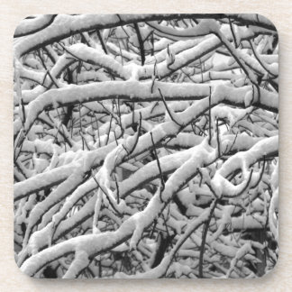 Snowy branches beverage coaster