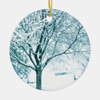 Snowy branches ceramic ornament
