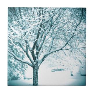 Snowy branches ceramic tile