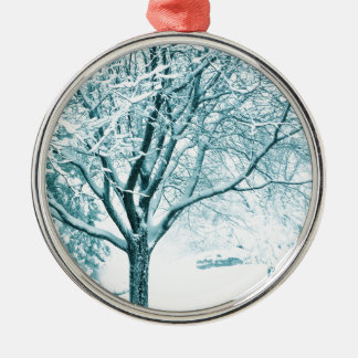Snowy branches metal ornament