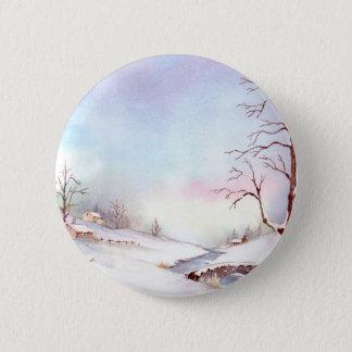 Snowy Bridge Watercolor Landscape Painting Button