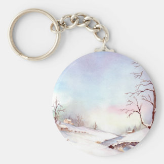 Snowy Bridge Watercolor Landscape Painting Keychain