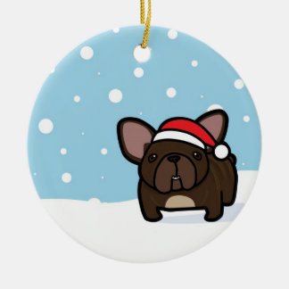 Snowy Brindle Frenchie Double-Sided Ceramic Round Christmas Ornament