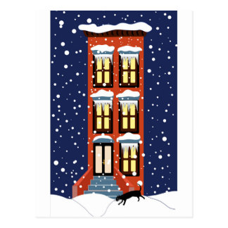 Snowy Brownstone and Cat Postcard