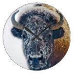 Snowy Buffalo Wall Clock