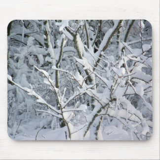 Snowy Bushes at Singing Beach Mouse Pad