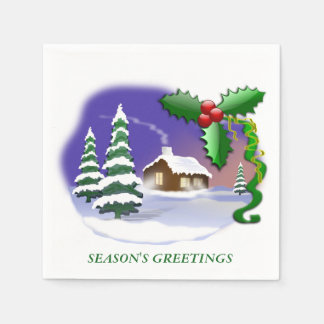 Snowy Cabin with Trees Disposable Napkin