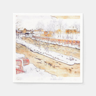 Snowy Canal Timber Chute Paper Napkin