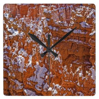 Snowy Canyon Walls, Bryce Canyon National Park Square Wallclocks