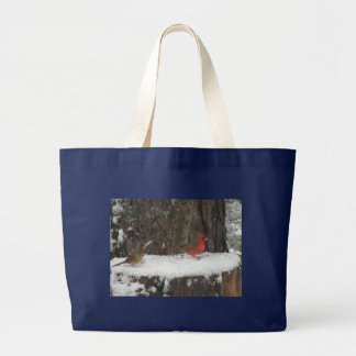 Snowy Cardinals and Towhee Large Tote Bag