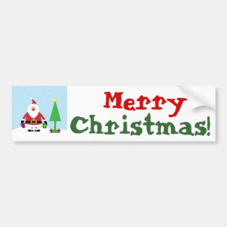 Snowy Cartoon Santa with gifts and Christmas Tree Bumper Sticker