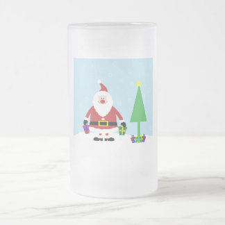 Snowy Cartoon Santa with gifts and Christmas Tree Frosted Glass Beer Mug