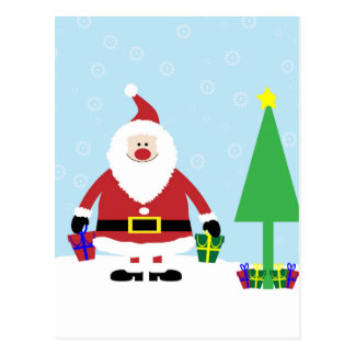 Snowy Cartoon Santa with gifts and Christmas Tree Postcard