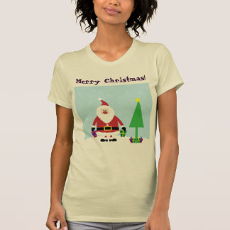 Snowy Cartoon Santa with gifts and Christmas Tree T-Shirt
