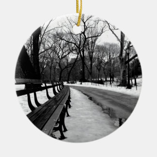 Snowy Central Park Ceramic Ornament