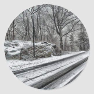 Snowy Central Park Classic Round Sticker