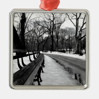 Snowy Central Park Metal Ornament
