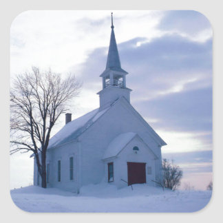 Snowy Chapel Square Sticker