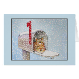 Snowy Christmas Cat Greeting Card
