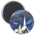 Snowy Christmas Church Amen Magnet