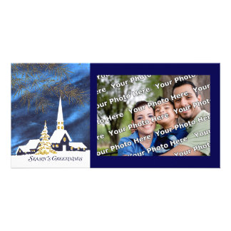 Snowy Christmas Church Photo Card