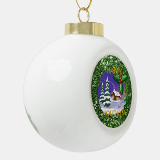 Snowy Christmas Cottage Ceramic Ball Christmas Ornament