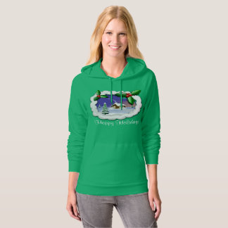 Snowy Christmas Cottage Kelly Green Hoodie