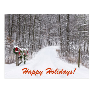 Snowy Christmas Country Lane with Wreath on Gate Postcard