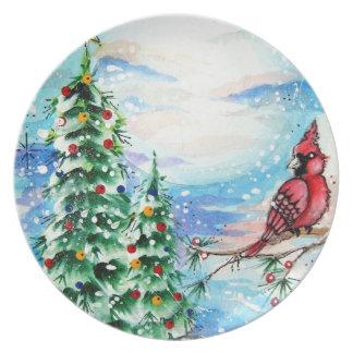 Snowy Christmas Eve Plate