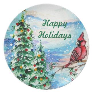 Snowy Christmas Eve Plate Happy Holidays