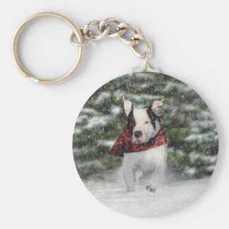Snowy Christmas Holiday Greeting for Dog Lover Keychain
