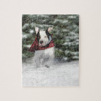 Snowy Christmas Holiday Greeting for Dog Lover Jigsaw Puzzle