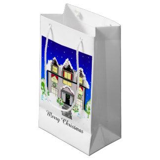 Snowy Christmas House Small Gift Bag