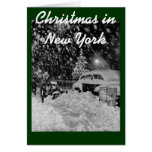 Snowy Christmas in New York City Vintage Card
