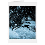 Snowy Christmas in New York City Vintage Greeting Card