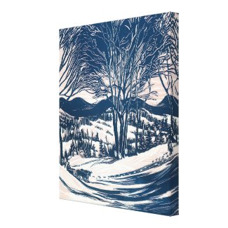 Snowy Christmas Landscape, Trees and Mountains wrappedcanvas