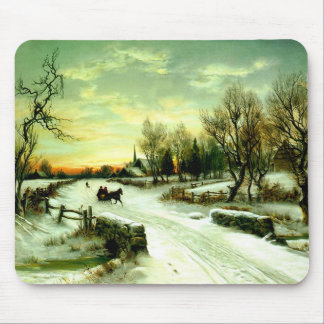 Snowy Christmas morning Mouse Pad