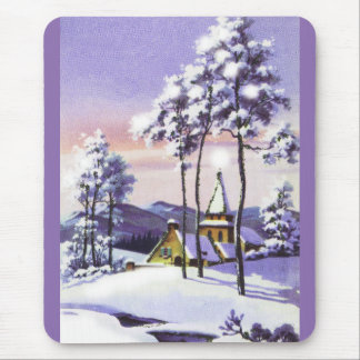 Snowy Christmas Mouse Pad