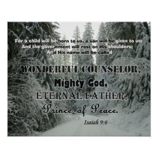 Snowy Christmas Poster w/ Scripture from Isa 9:6