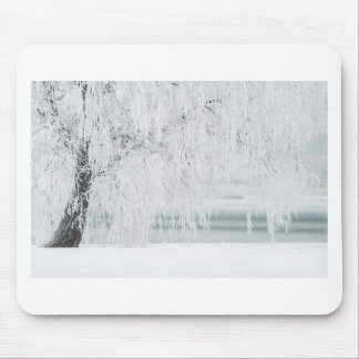 Snowy Christmas Scene Mouse Pad