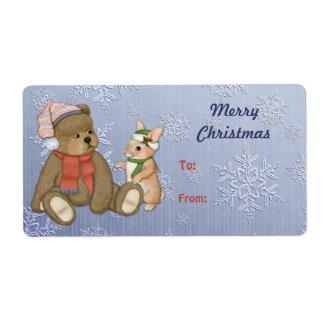 Snowy Christmas Teddy Bear & Bunny Custom Shipping Label