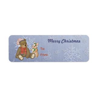 Snowy Christmas Teddy Bear & Bunny Custom Return Address Labels