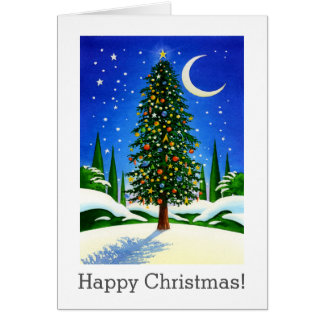 Snowy Christmas Tree Art - Gifts, Moon and Stars Greeting Card
