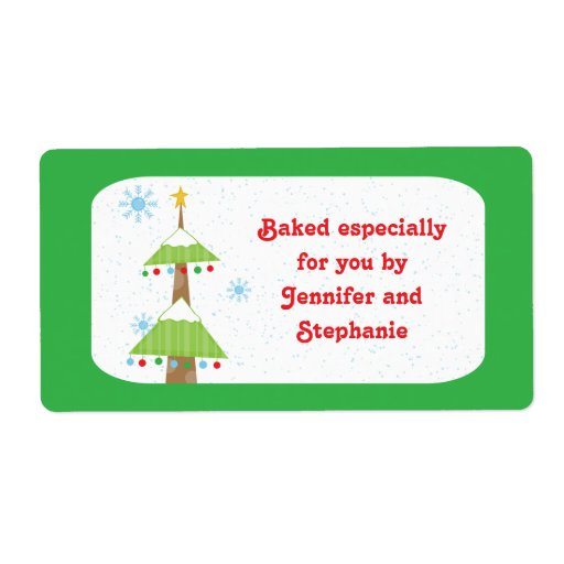 Snowy christmas tree baked goods gift tag labels zazzle for Homemade baked goods for christmas gifts