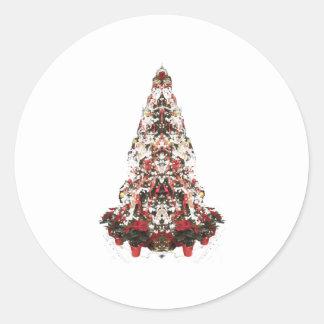Snowy Christmas Tree Classic Round Sticker