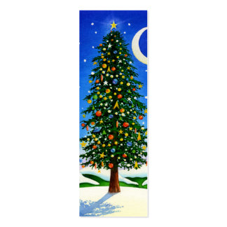 Snowy Christmas Tree Double-Sided Mini Business Cards (Pack Of 20)