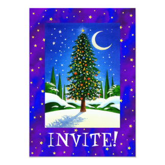 Snowy Christmas Tree Invitation