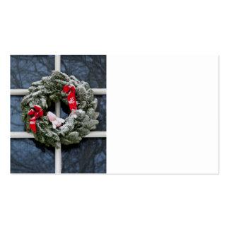 Snowy christmas wreath business card templates