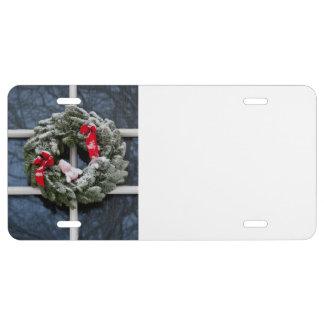Snowy christmas wreath license plate